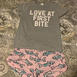 Just in time for shark week pj set!